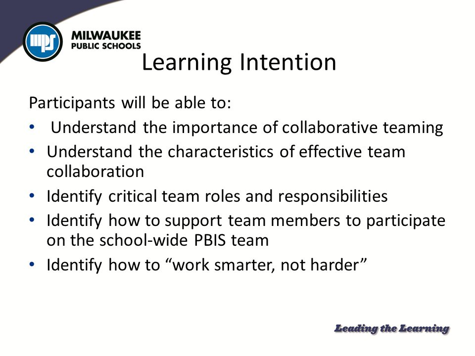 Learning Intention Participants will be able to: