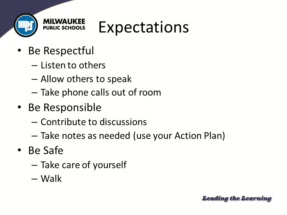 Expectations Be Respectful Be Responsible Be Safe Listen to others