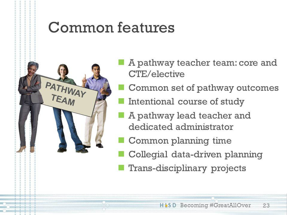 Common features A pathway teacher team: core and CTE/elective