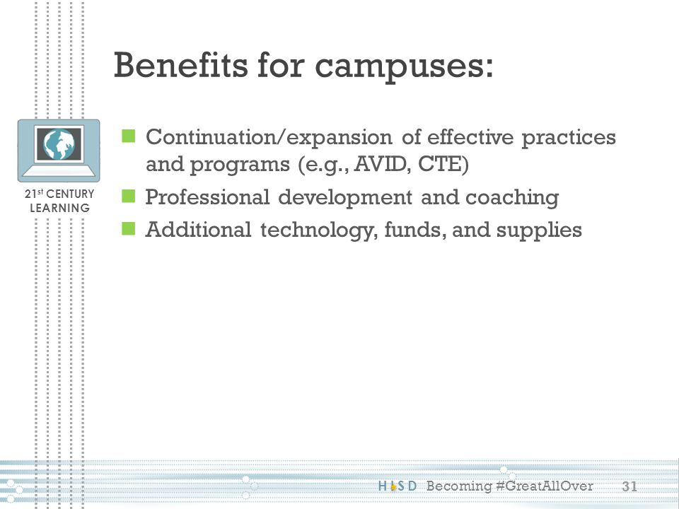 Benefits for campuses: