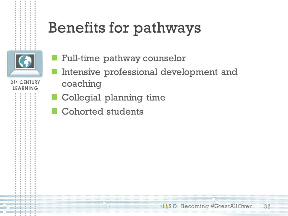 Benefits for pathways Full-time pathway counselor
