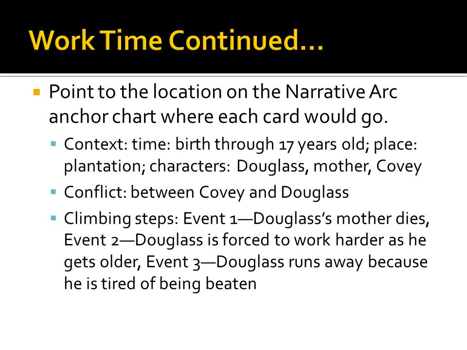 Work Time Continued… Point to the location on the Narrative Arc anchor chart where each card would go.