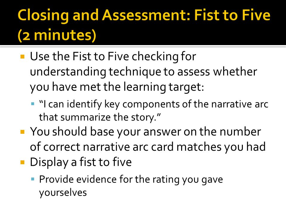 Closing and Assessment: Fist to Five (2 minutes)