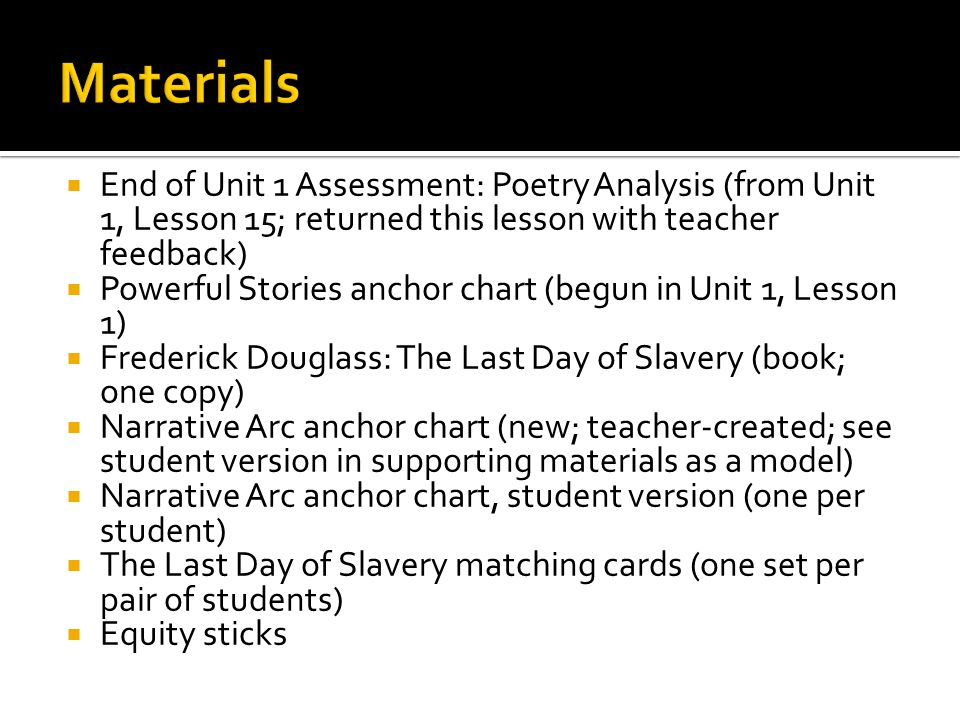 Materials End of Unit 1 Assessment: Poetry Analysis (from Unit 1, Lesson 15; returned this lesson with teacher feedback)