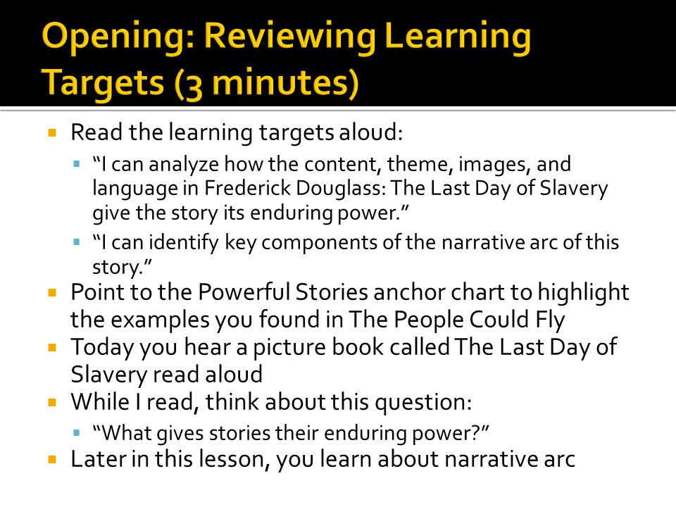 Opening: Reviewing Learning Targets (3 minutes)