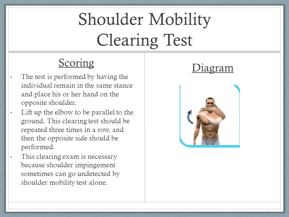 Shoulder Mobility Clearing Test
