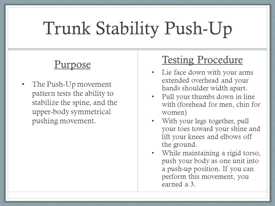Trunk Stability Push-Up