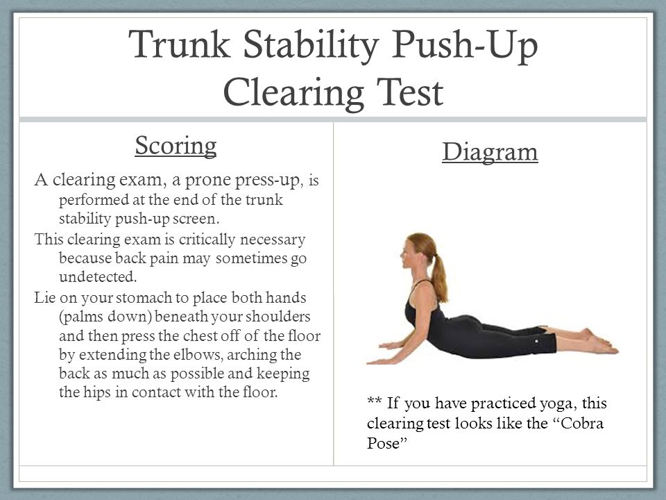 Trunk Stability Push-Up Clearing Test