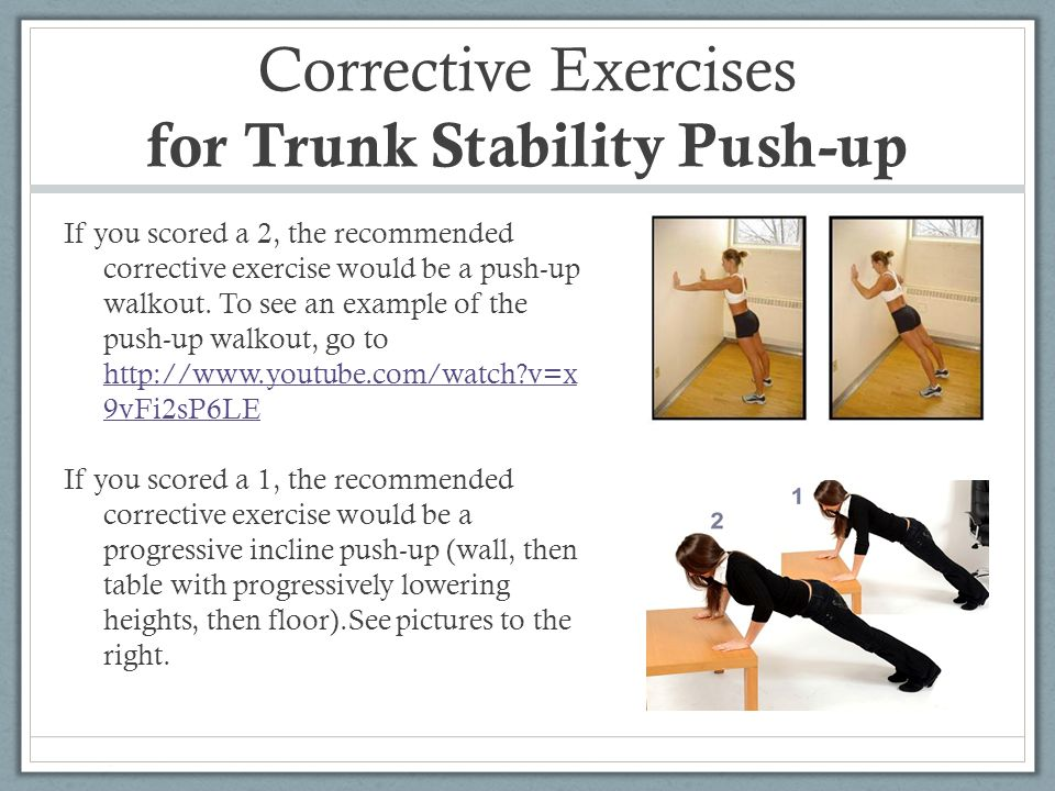 Corrective Exercises for Trunk Stability Push-up