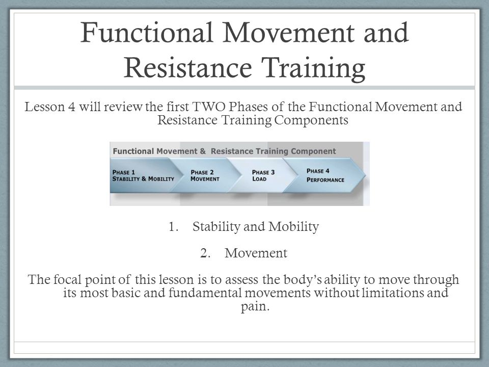 Functional Movement and Resistance Training