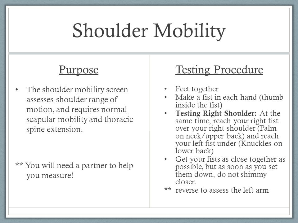 Shoulder Mobility Purpose Testing Procedure