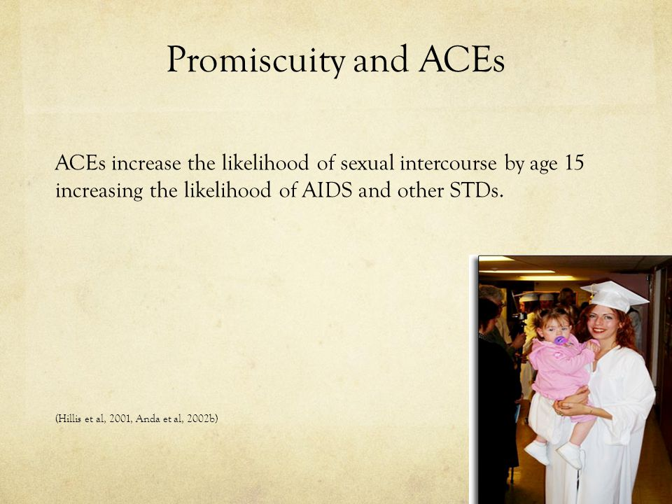 Promiscuity and ACEs ACEs increase the likelihood of sexual intercourse by age 15 increasing the likelihood of AIDS and other STDs.