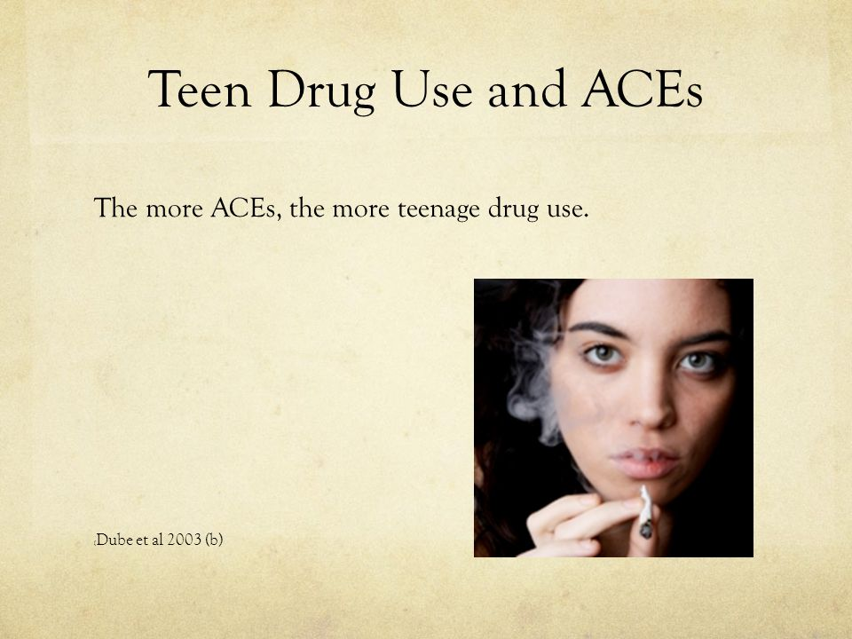 Teen Drug Use and ACEs The more ACEs, the more teenage drug use.