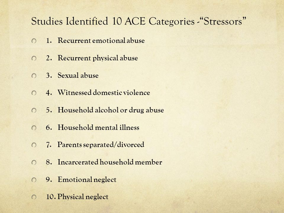 Studies Identified 10 ACE Categories - Stressors