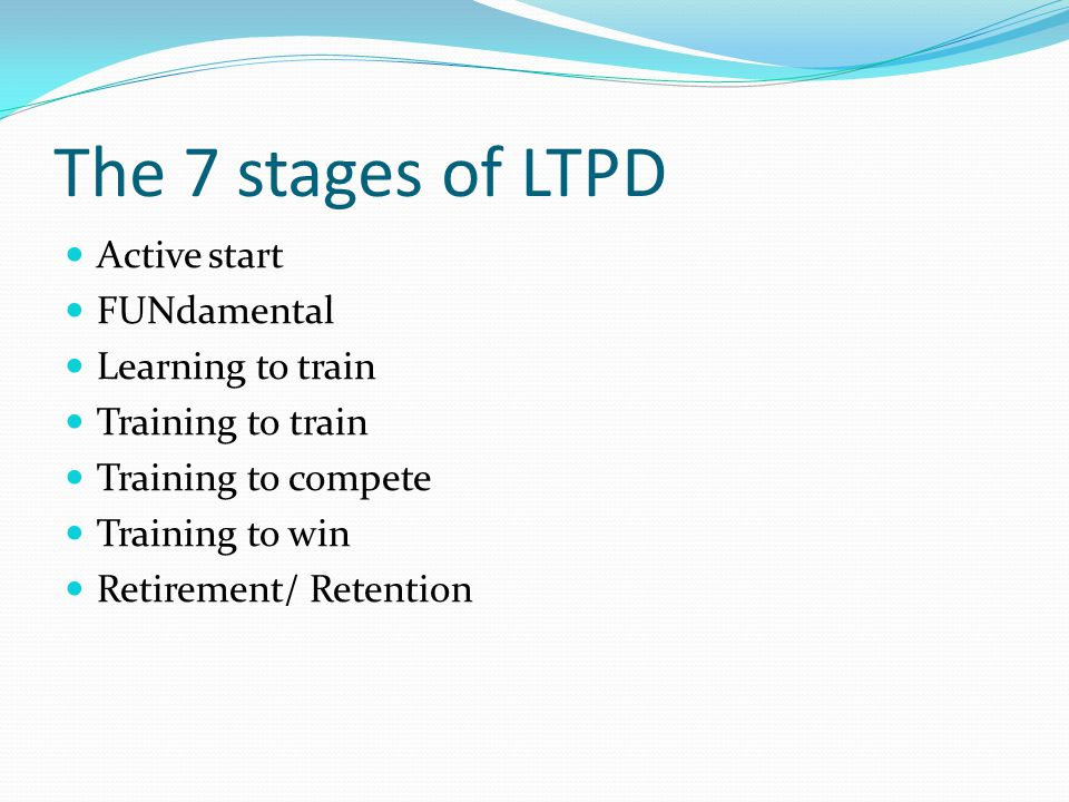 The 7 stages of LTPD Active start FUNdamental Learning to train