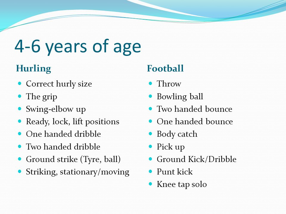 4-6 years of age Hurling Football Correct hurly size The grip
