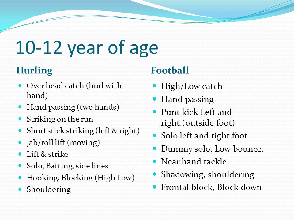10-12 year of age Hurling Football High/Low catch Hand passing