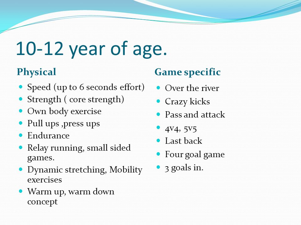 10-12 year of age. Physical Game specific