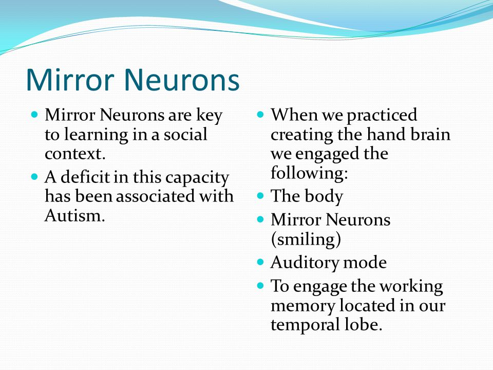 Mirror Neurons Mirror Neurons are key to learning in a social context.