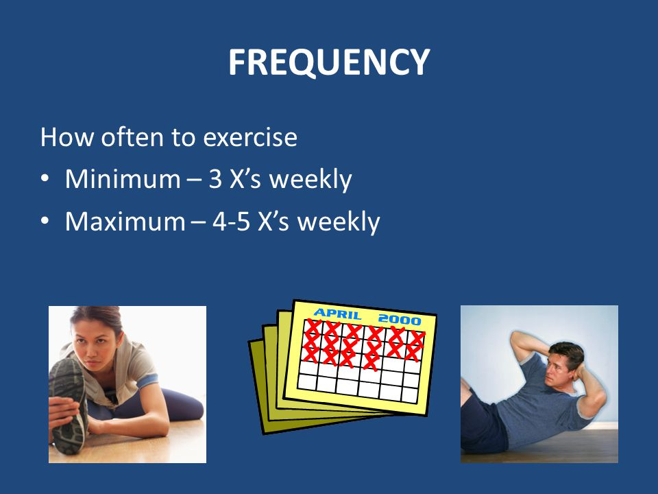 FREQUENCY How often to exercise Minimum – 3 X's weekly