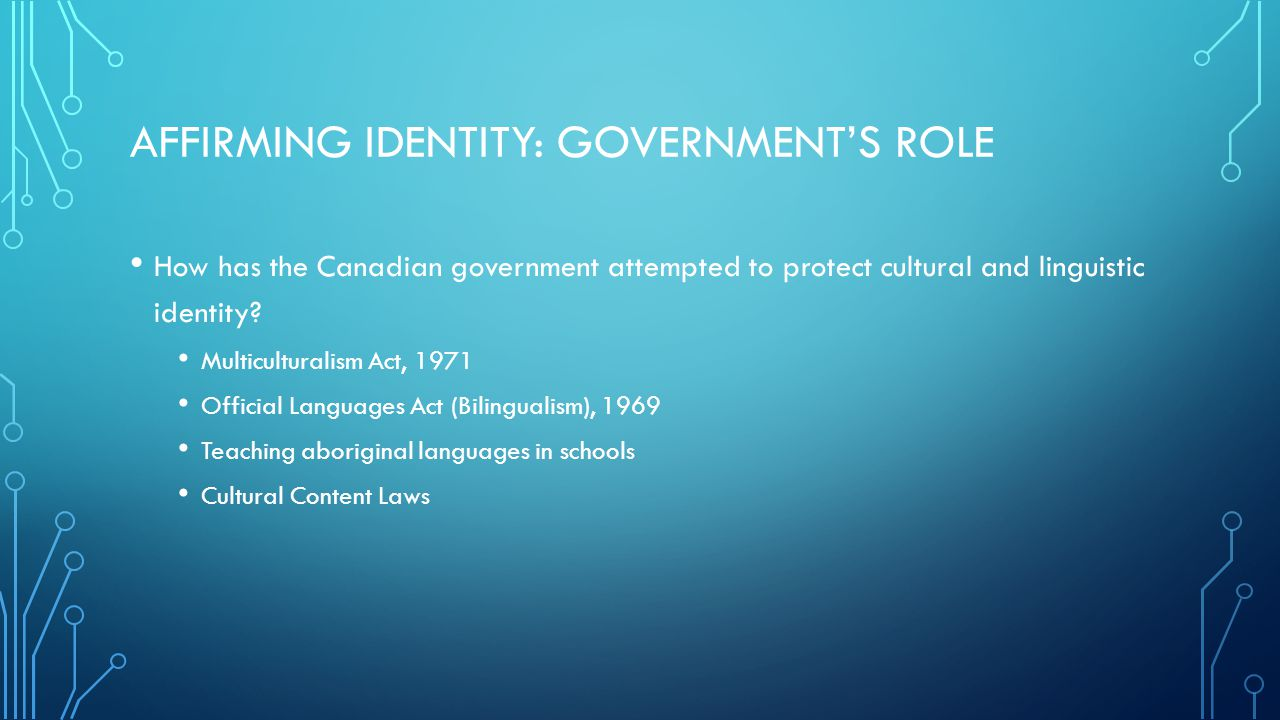 Affirming Identity: Government's Role