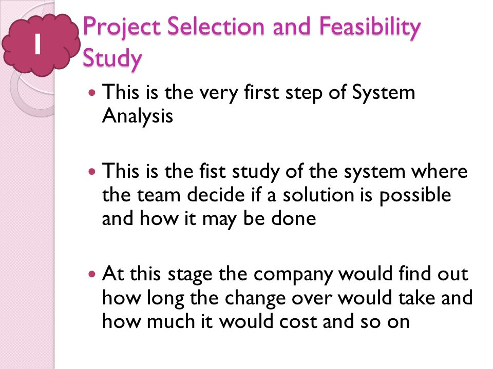 Project Selection and Feasibility Study