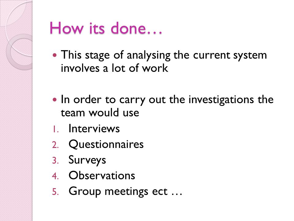 How its done… This stage of analysing the current system involves a lot of work. In order to carry out the investigations the team would use.