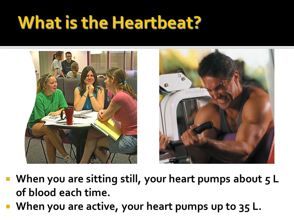 What is the Heartbeat. When you are sitting still, your heart pumps about 5 L of blood each time.