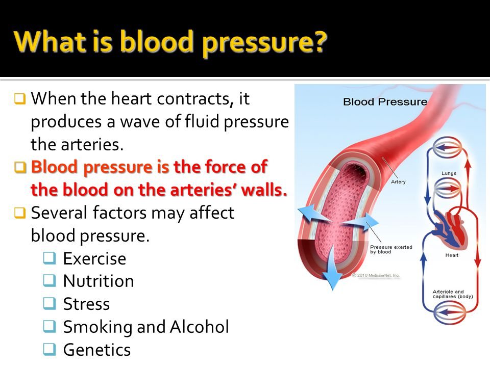 What is blood pressure When the heart contracts, it produces a wave of fluid pressure in the arteries.