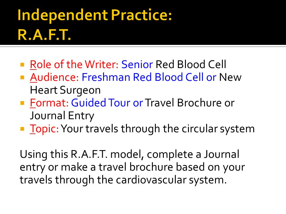 Independent Practice: R.A.F.T.