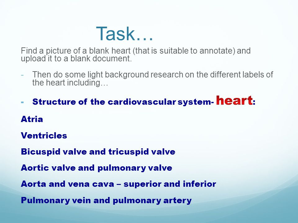 Task… Find a picture of a blank heart (that is suitable to annotate) and upload it to a blank document.