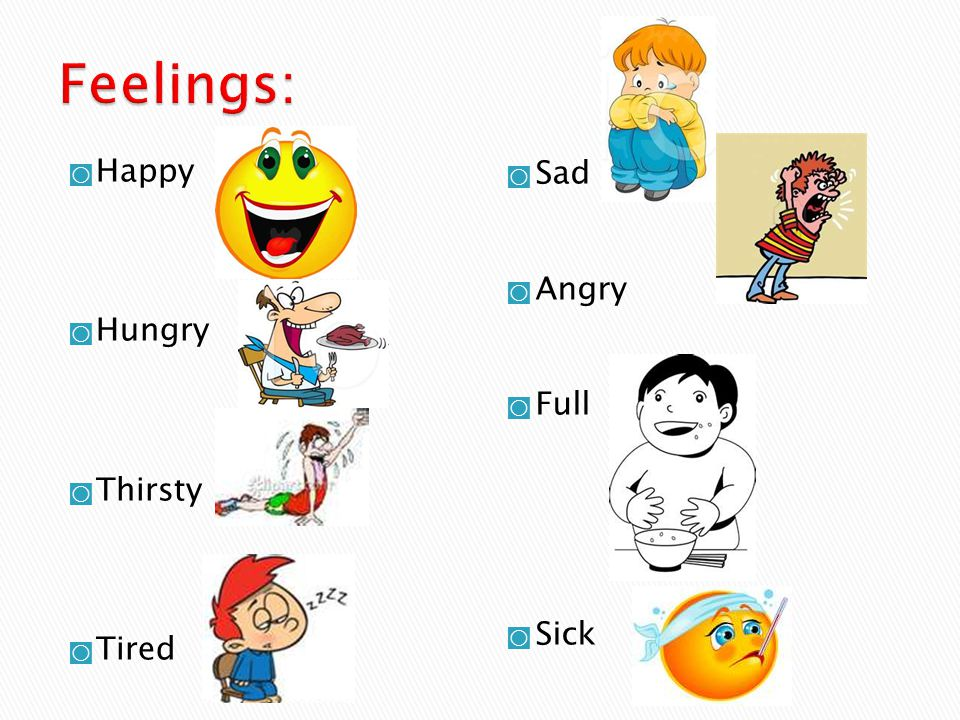 Feelings: Happy Hungry Thirsty Tired Sad Angry Full Sick
