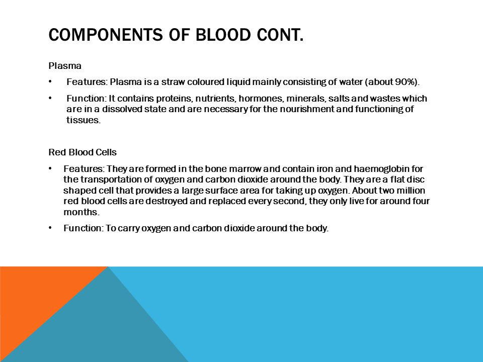 Components of blood cont.