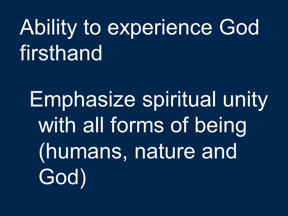 Ability to experience God firsthand
