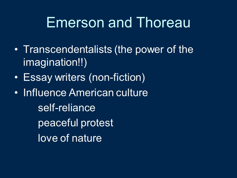 self reliance in american literature Answer to describe the way concepts of self and of self-reliance develop and find expression in american literature of the eighte.