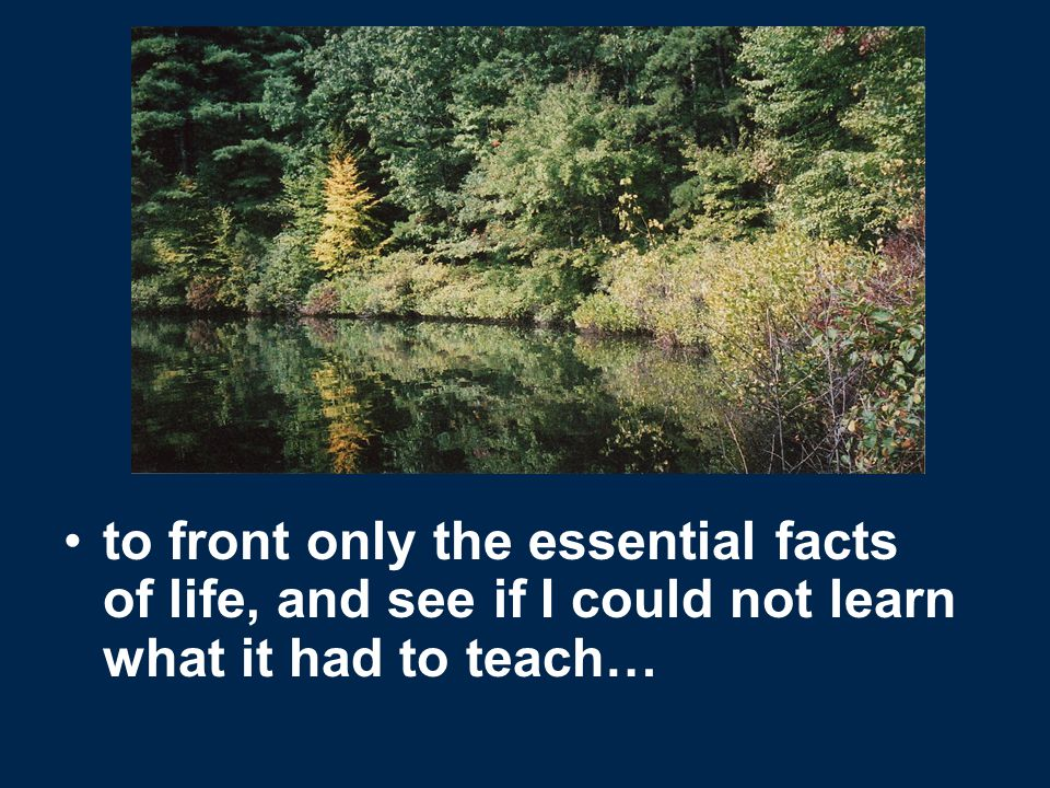 to front only the essential facts of life, and see if I could not learn what it had to teach…