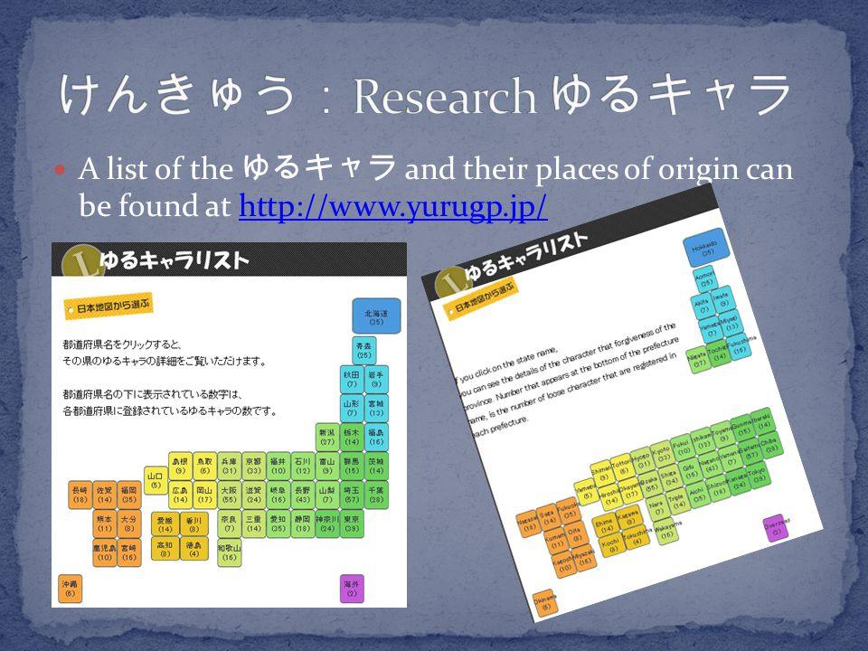 けんきゅう:Research ゆるキャラ A list of the ゆるキャラ and their places of origin can be found at http://www.yurugp.jp/