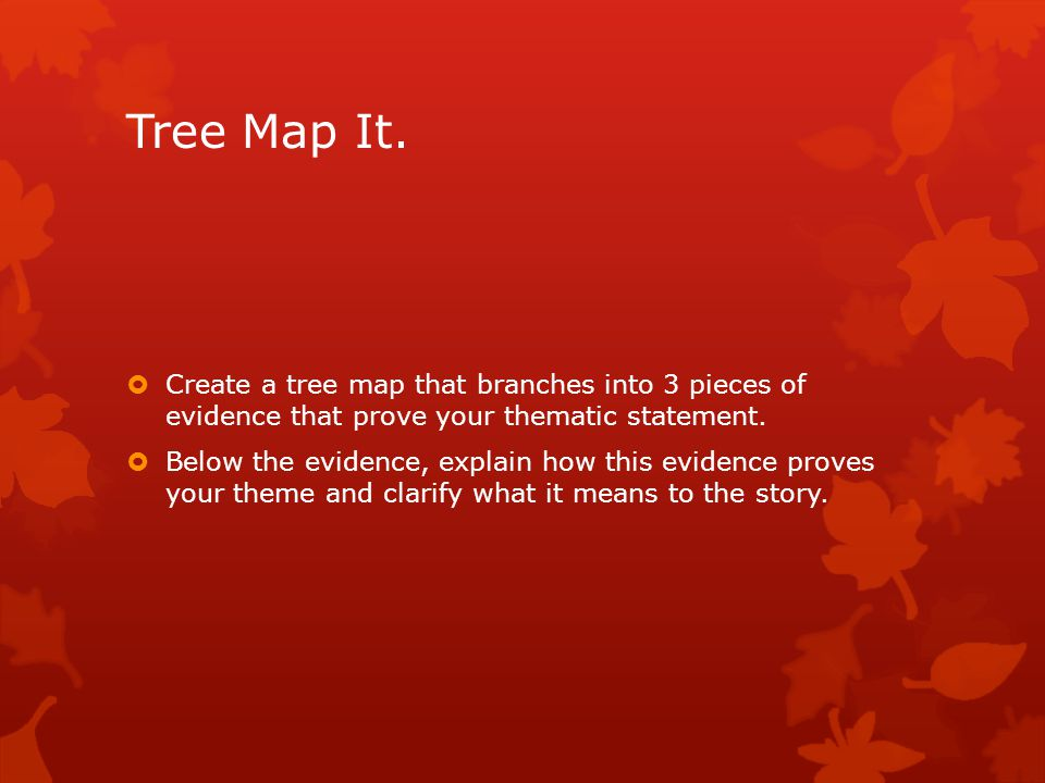Tree Map It. Create a tree map that branches into 3 pieces of evidence that prove your thematic statement.