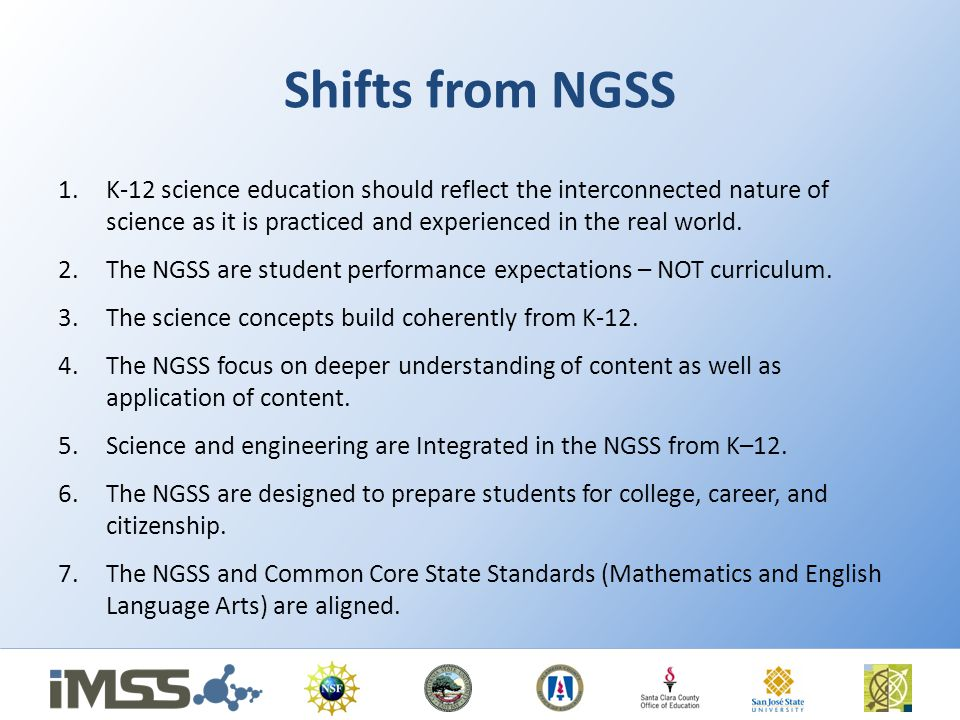 Shifts from NGSS K-12 science education should reflect the interconnected nature of science as it is practiced and experienced in the real world.