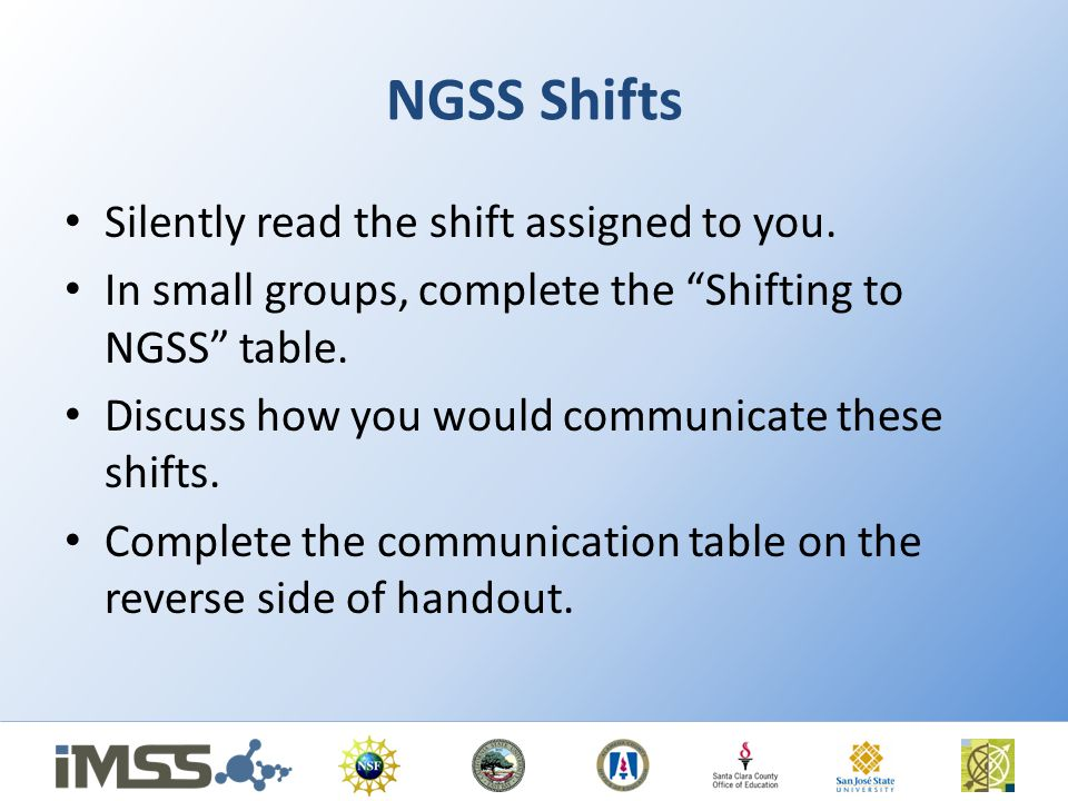 NGSS Shifts Silently read the shift assigned to you.
