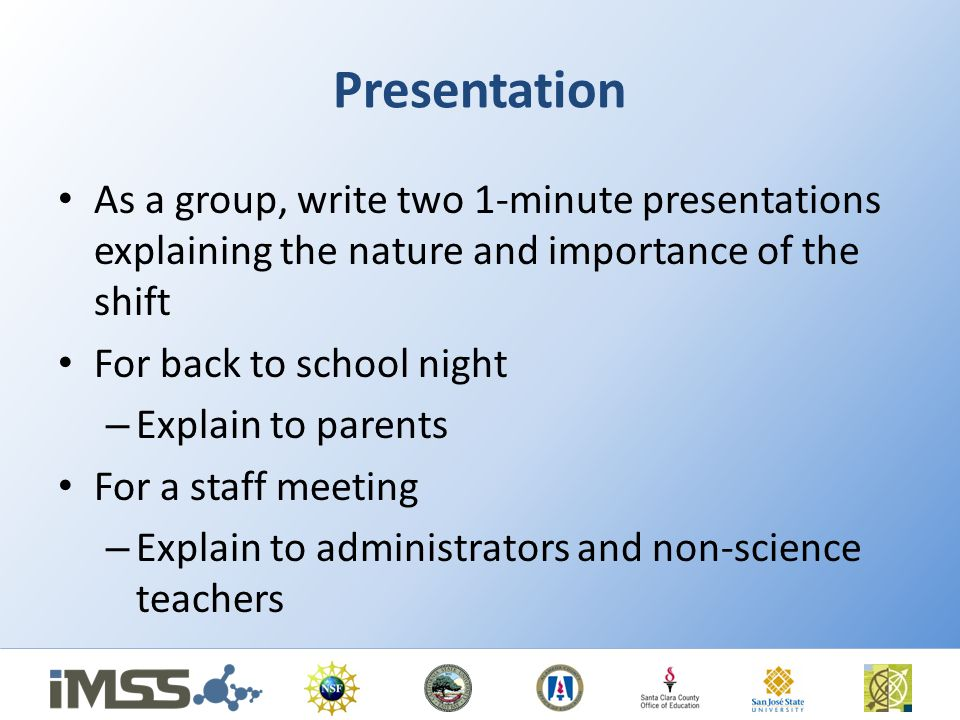 Presentation As a group, write two 1-minute presentations explaining the nature and importance of the shift.