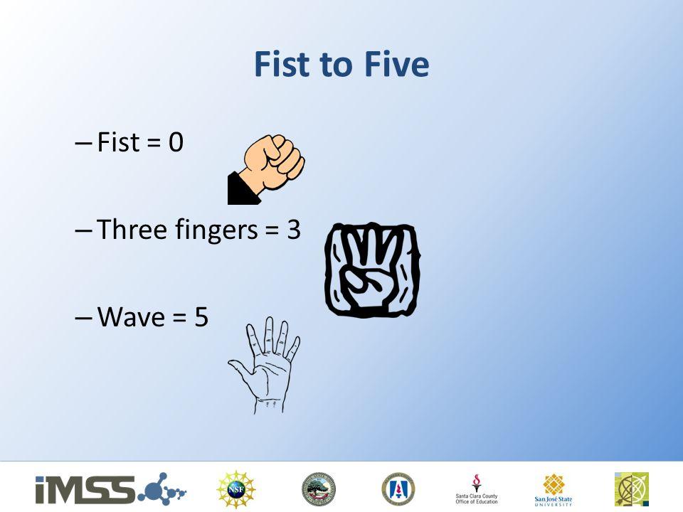 Fist to Five Fist = 0 Three fingers = 3 Wave = 5