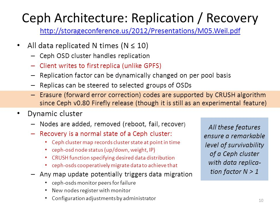 Ceph Architecture: Replication / Recovery http://storageconference