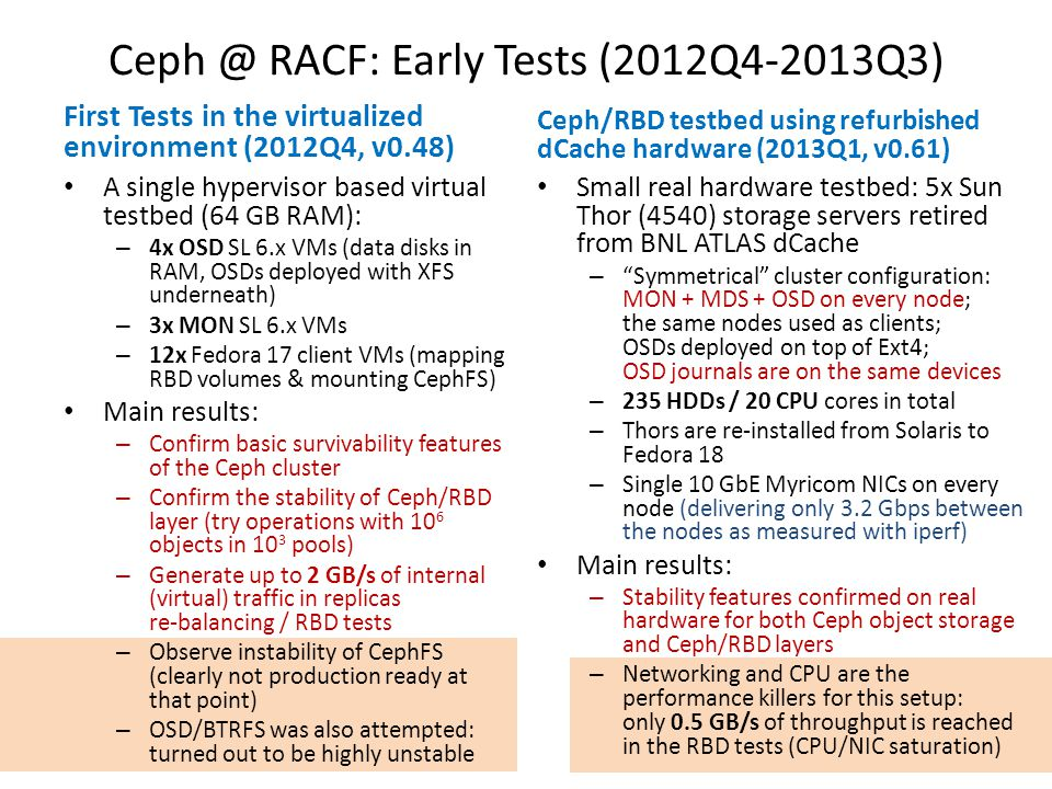 Ceph @ RACF: Early Tests (2012Q4-2013Q3)