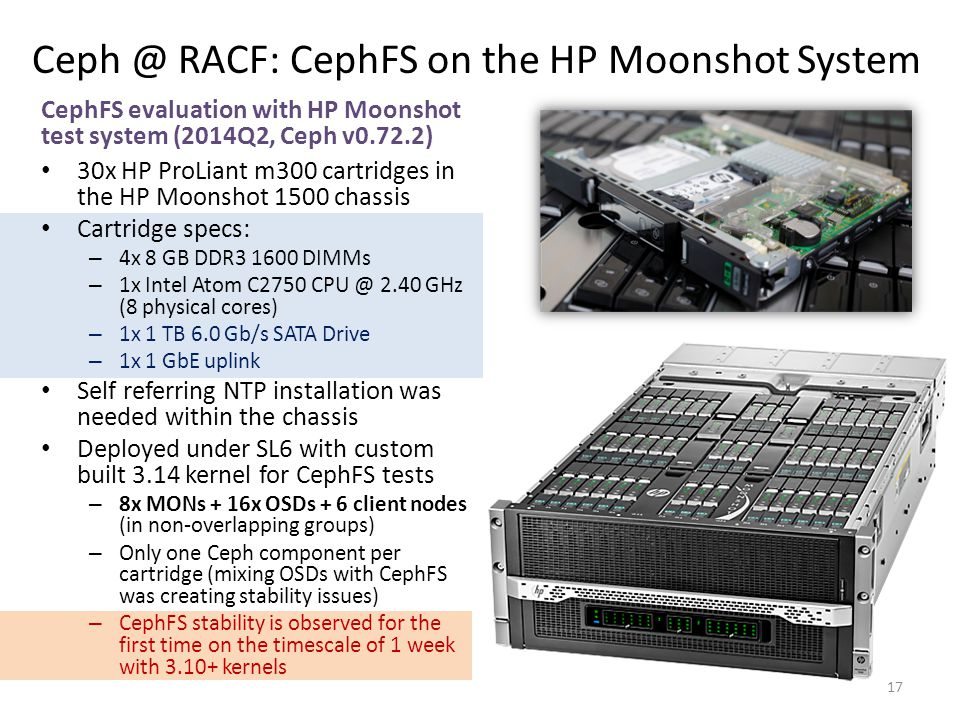 Ceph @ RACF: CephFS on the HP Moonshot System