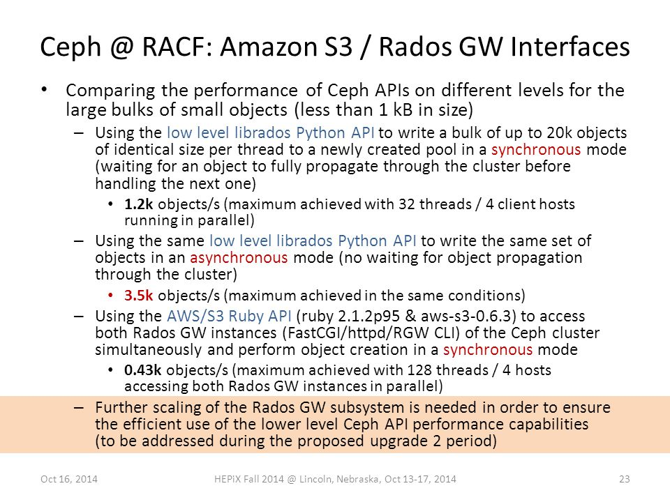 Ceph @ RACF: Amazon S3 / Rados GW Interfaces