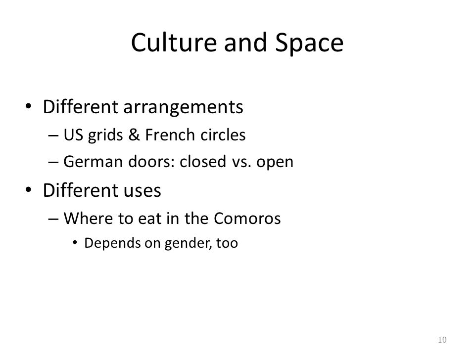 Culture and Space Different arrangements Different uses
