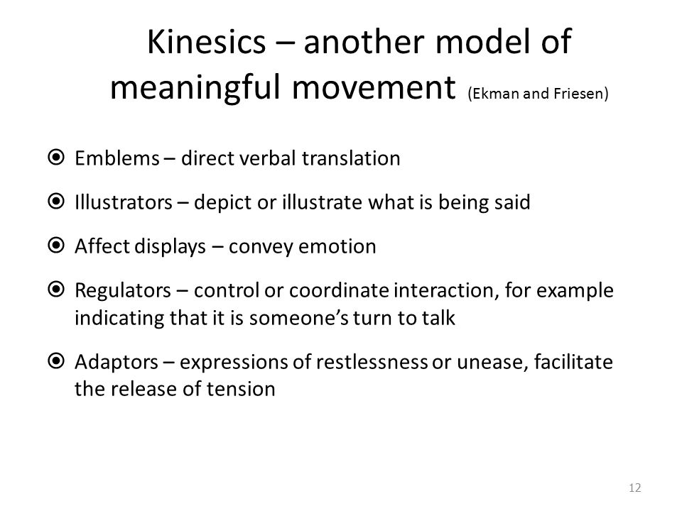 Kinesics – another model of meaningful movement (Ekman and Friesen)