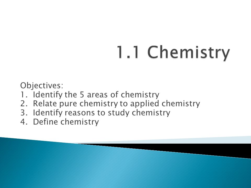 1.1 Chemistry Objectives: 1. Identify the 5 areas of chemistry