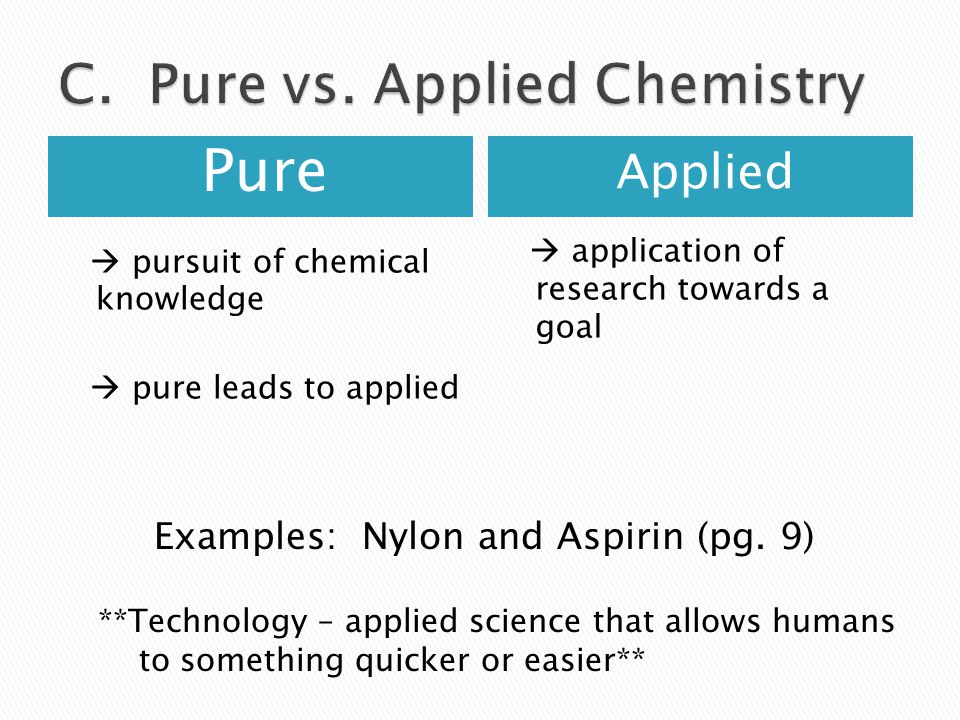 C. Pure vs. Applied Chemistry